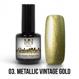 Gel Polish Metallic no.03. - Metallic Vintage Gold 12 ml