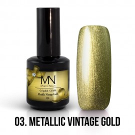 Gel Polish Metallic no.03. - Metallic Vintage Gold 12 ml